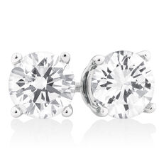 Stud Earrings with 2 TW of Diamonds in 18ct White Gold