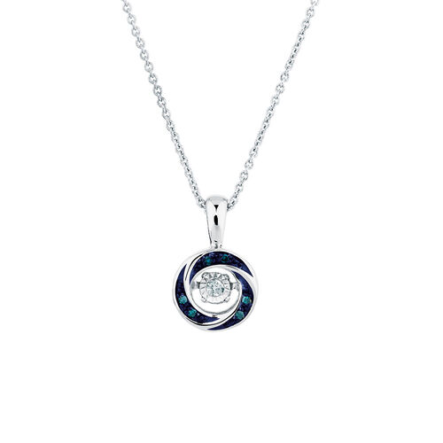 Everlight Pendant with White & Enhanced Blue Diamonds