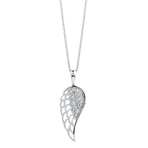 Angel Wing Pendant with Diamonds in Sterling Silver