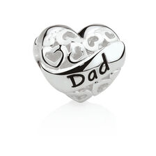 Dad Heart Charm in Sterling Silver