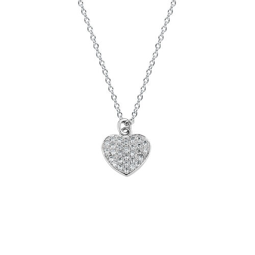 Heart Necklace with Cubic Zirconia in Sterling Silver