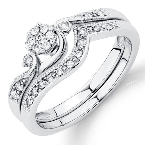 Bridal Set with 1 15 Carat TW of Diamonds in 14kt White Gold
