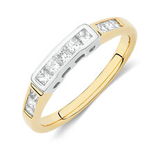 Online Exclusive - Wedding Band with 1/2 Carat TW of Diamonds in 18ct Yellow and White Gold