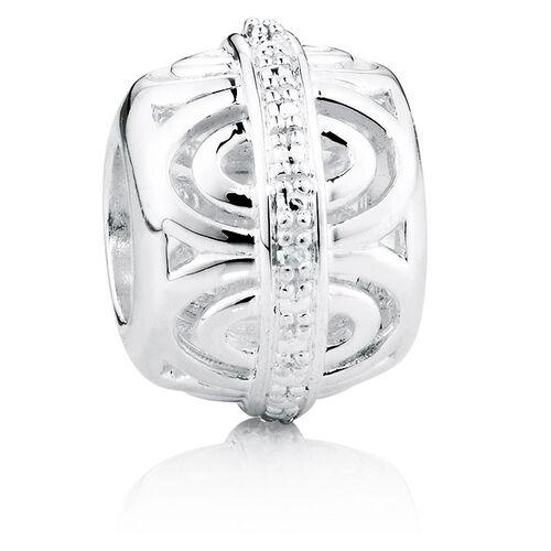 Diamond Set & Sterling Silver Oval Pattern Charm