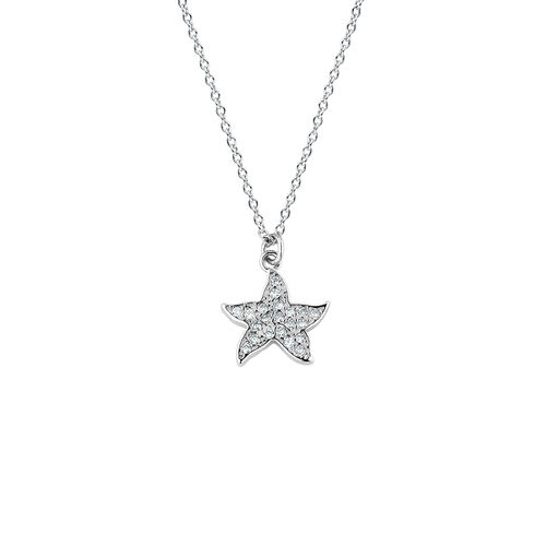Starfish Necklace with Cubic Zirconia in Sterling Silver