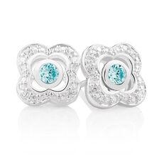 Aqua Cubic Zirconia & Sterling Silver Stud Earrings with Quatre Enhancers