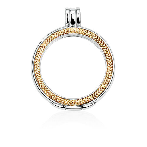 Coin Pendant Case in Sterling Silver & 10ct Yellow Gold