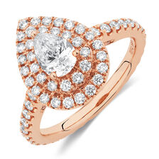 Michael Hill Designer GrandArpeggio Engagement Ring with 1.21 Carat TW of Diamonds in 14kt Rose Gold