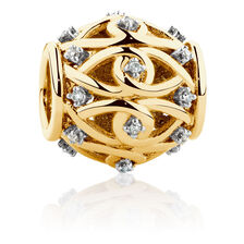 Diamond Set Filigree Charm in 10ct Yellow Gold