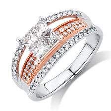 Engagement Ring with 1 Carat TW of Diamonds in 14kt White & Rose Gold