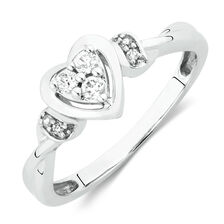 Heart Promise Ring with Diamonds in 10kt White Gold