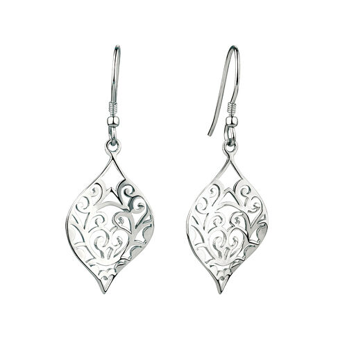 Filigree Drop Earrings in Sterling Silver