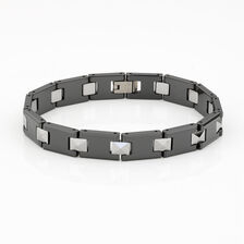 Men's Cable Bracelet in Ceramic & Tungsten