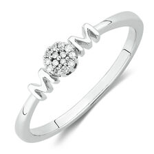 'Mom' Ring with Diamonds in Sterling Silver