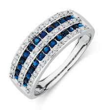 Ring with Sapphires & 1/10 Carat TW of Diamonds in 10kt White Gold
