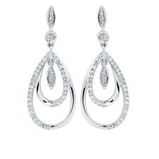 Drop Earrings with 0.33 Carat TW of Diamonds in Sterling Silver