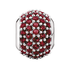 Online Exclusive - Red Cubic Zirconia & Sterling Silver Pave Charm