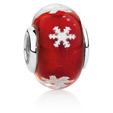 Red Snowflake Charm with Glass in Sterling Silver