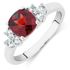 Ring with Garnet & Created White Sapphire in Sterling Silver