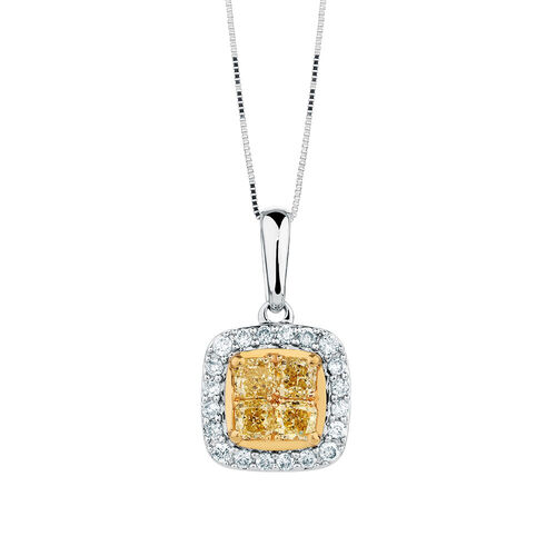 Pendant with 0.40 Carat TW of White & Natural Yellow Diamonds in 10ct Yellow & White Gold