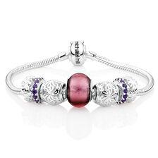 Purple & Sterling Silver Starter Charm Bracelet