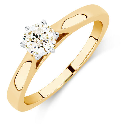 Solitaire Engagement Ring with a 1/2 Carat Diamond in 14ct Yellow & White Gold