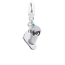 Boy' Feet Dangle Charm with Aqua Cubic Zirconia in Sterling Silver