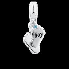 Boy' Feet Dangle Charm with Aqua Cubic Zirconia in Sterling Silver