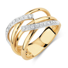 Ring with 1/3 Carat TW of Diamonds in 10ct Yellow & White Gold