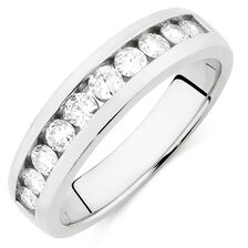 Men's Wedding Band with 1 Carat TW of Diamonds in 10kt White Gold