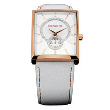 Ladies Watch with Mother of Pearl & Crystals in Rose Tone Stainless Steel & Leather