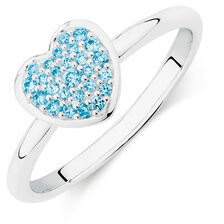 Online Exclusive - Aqua Cubic Zirconia Heart Ring