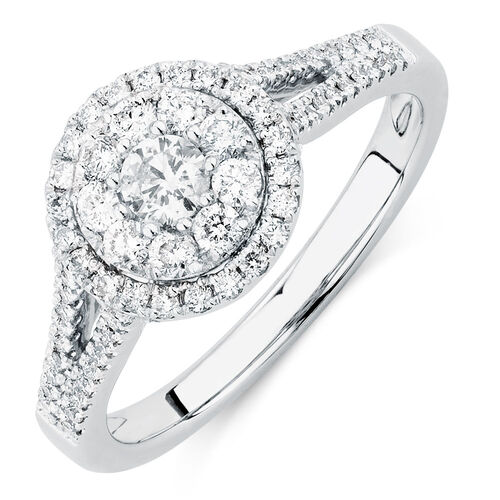 Engagement Ring with 0.76 Carat TW of Diamonds in 14ct White Gold