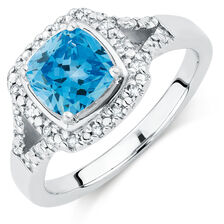 Online Exclusive - Ring with Blue Topaz & Diamonds in Sterling Silver