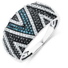 Online Exclusive - City Lights Ring with 5/8 Carat TW of Enhanced Blue & Black Diamonds in 10kt White Gold