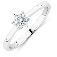 Flower Promise Ring with Diamonds in 10kt White Gold