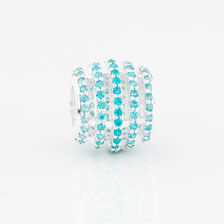 Five Row Charm with Aqua Cubic Zirconia in Sterling Silver