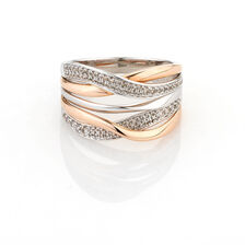 Online Exclusive - Twist Ring with 1/3 Carat TW of Diamonds in 10ct White & Rose Gold