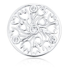 Cubic Zirconia & Sterling Silver Tulip Pattern Coin Pendant Insert