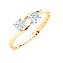 Engagement Ring with Diamonds in 10kt Yellow & White Gold