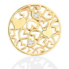 Diamond Set 10ct Yellow Gold Hearts Coin Pendant Insert