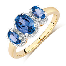 Three Stone Ring with Tanzanite & Diamonds in 10ct Yellow & White Gold