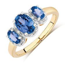 Three Stone Ring with Tanzanite & Diamonds in 10ct Yellow & White Gold