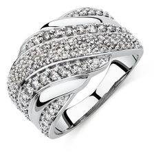 Ring with 1 Carat TW of Diamonds in Sterling Silver