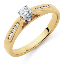 Engagement Ring with 1/4 Carat TW of Diamonds in 10ct Yellow & White Gold