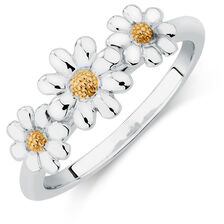 10y/Sil Three Daisy Stack Ring