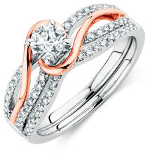 Bridal Set with 3/4 Carat TW of Diamonds in 14kt White & Rose Gold
