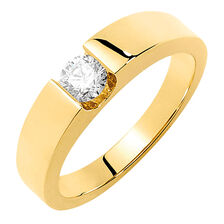 Men's Certified Solitaire Ring with a 1/2 Carat TW Diamond in 18ct Yellow Gold