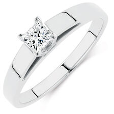 Solitaire Engagement Ring with a 1/4 Carat Diamond in 14kt White Gold