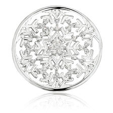 Snowflake Coin Pendant Insert with Cubic Zirconia in Sterling Silver